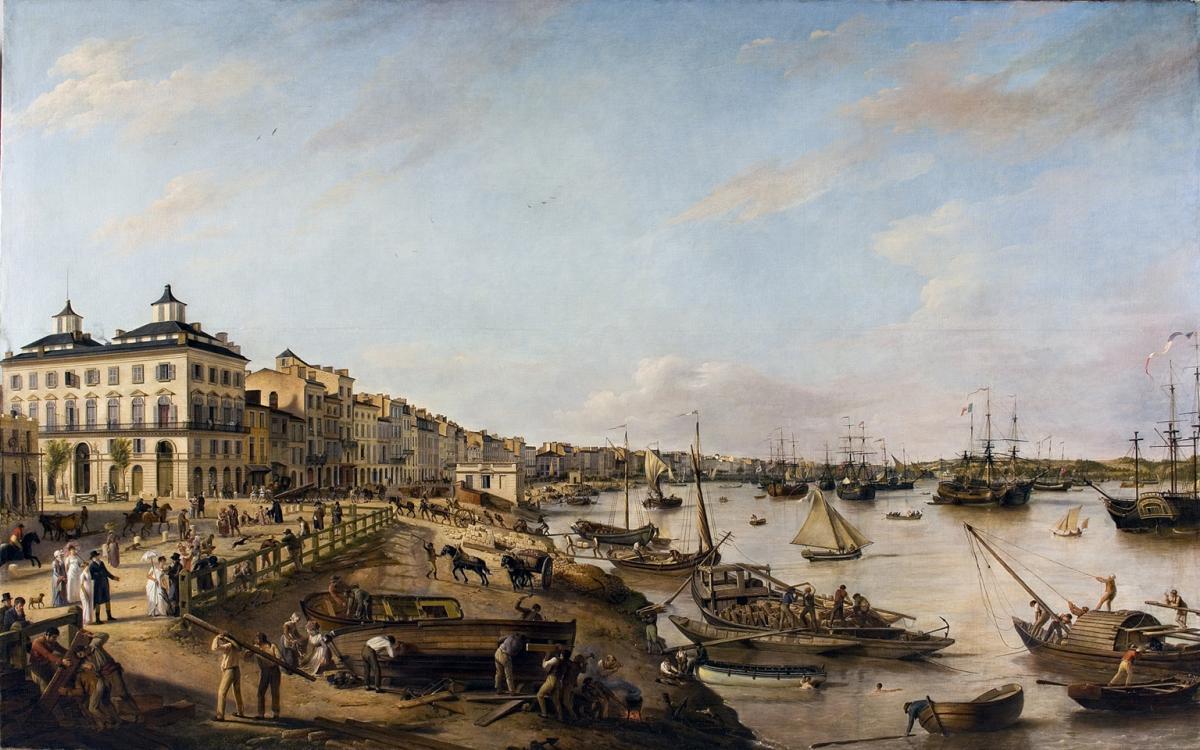 """Pierre Lacour. """"Vue d'une partie du port et des quais de Bordeaux"""" © Musée des Beaux-Arts-mairie de Bordeaux. Cliché F.Deval"""
