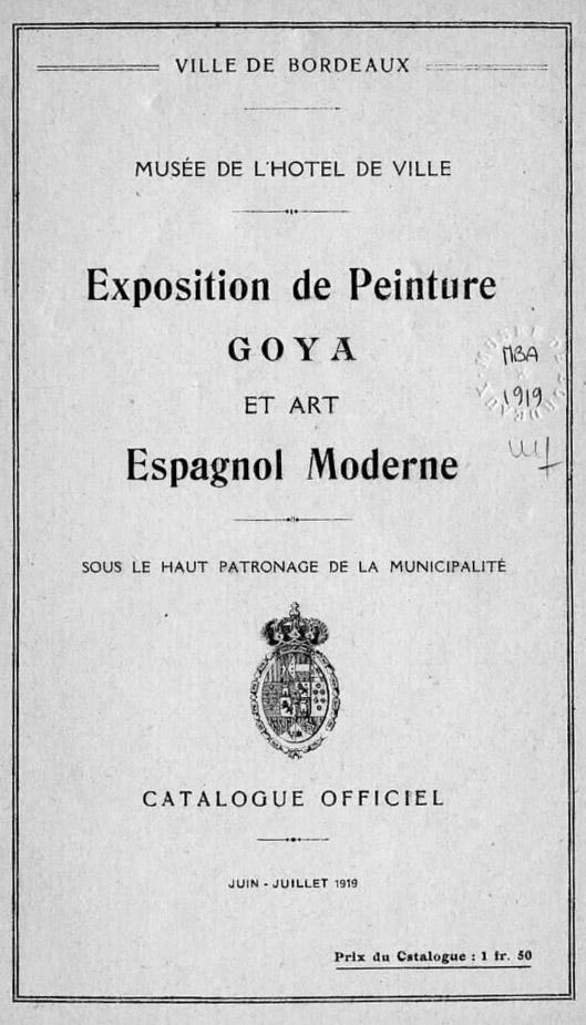Lien vers le catalogue de l'exposition Goya de 1919 à Bordeaux