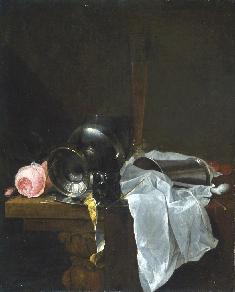 Jan davidsz de heem roses coupe et timbales avec deux - Position des verres sur une table ...