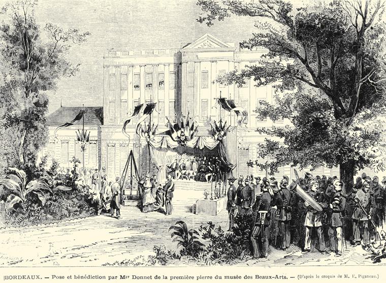 Pose de la première pierre.1875. © Archives municipales-mairie de Bordeaux.