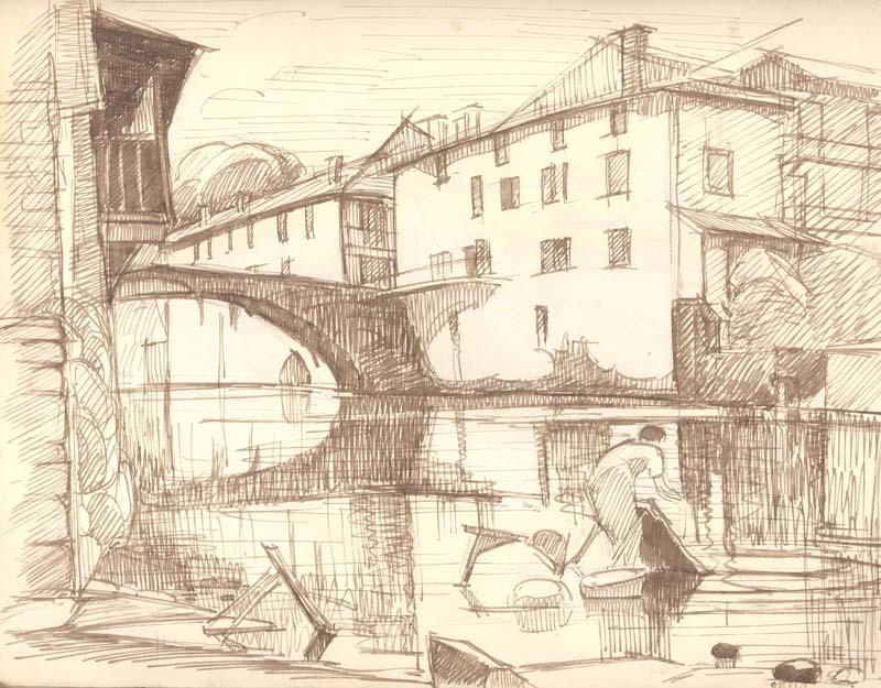 R. RODES, Saint-Jean-Pied-de-Port. Crayon, 1938. Collection particulière