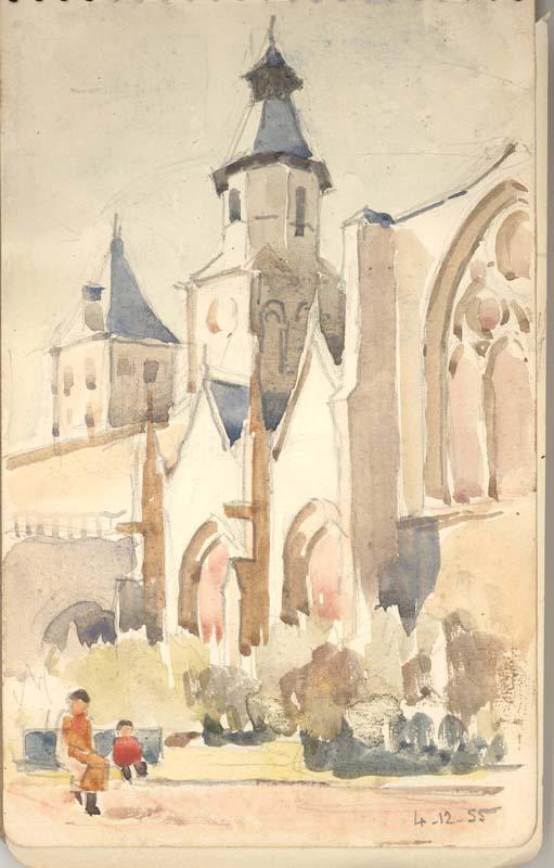 R. RODES, Bordeaux, Saint-Seurin, Aquarelle, 1955. Collection particulière