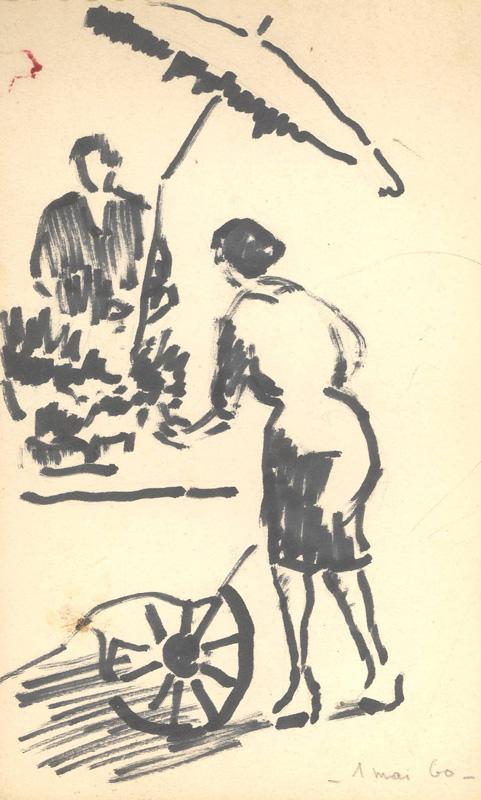 R. RODES, Marchande des quatre-saisons, Feutre, 1960. Collection particulière