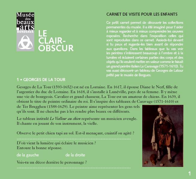 """Carnet pdf """"Le clair-obscur"""""""