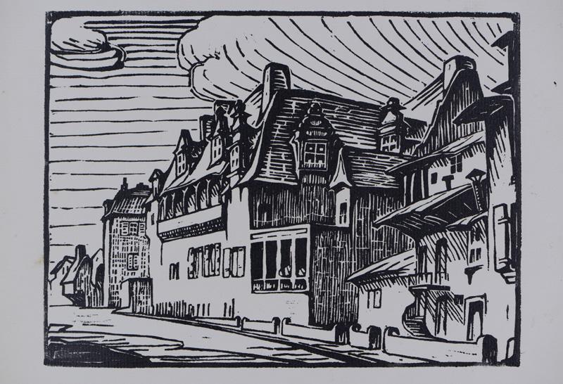 R. RODES, Maison des Consuls à Périgueux. Gravure sur bois, 1935. Collection particulière
