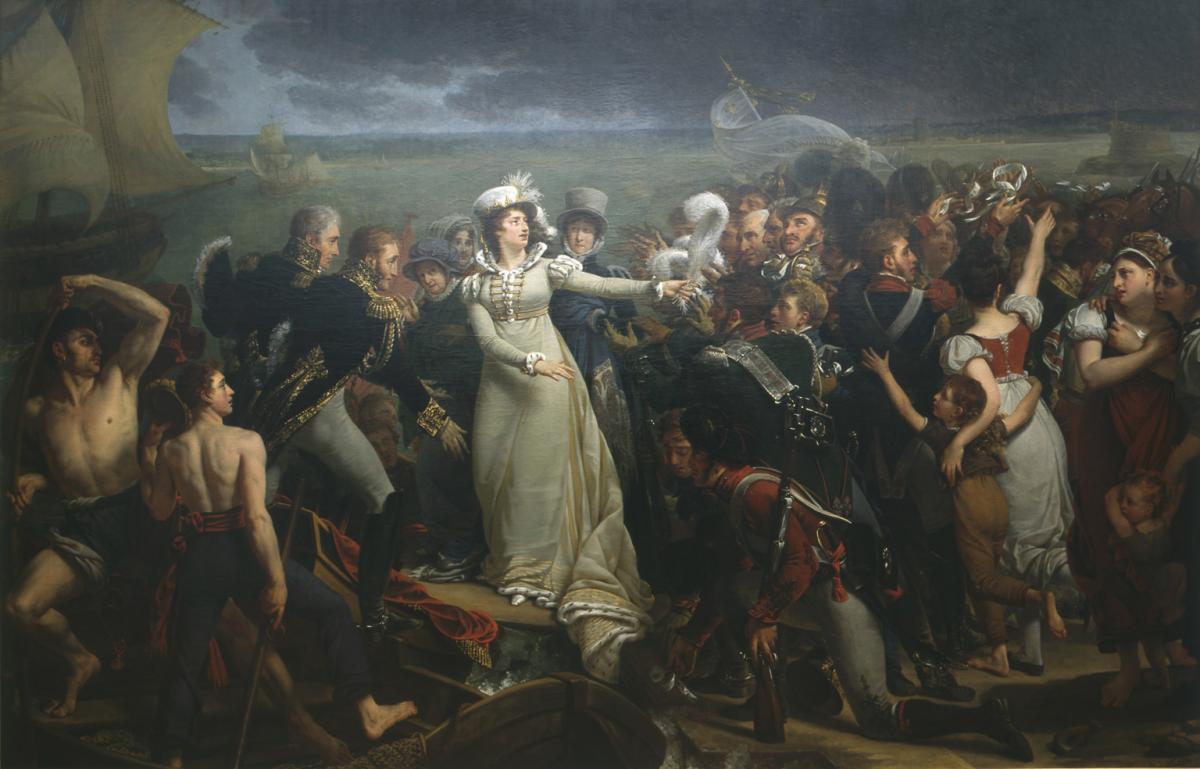 Embarquement de la duchesse d'Angoulême à Pauillac. Antoine-Jean GROS (Baron).1818.© Musée des Beaux-Arts-mairie de Bordeaux. Cliché L.Gauthier