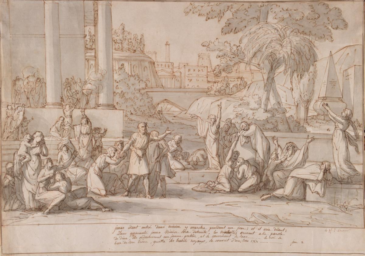 La Prédiction de Jonas aux Ninives. Pierre Lacour