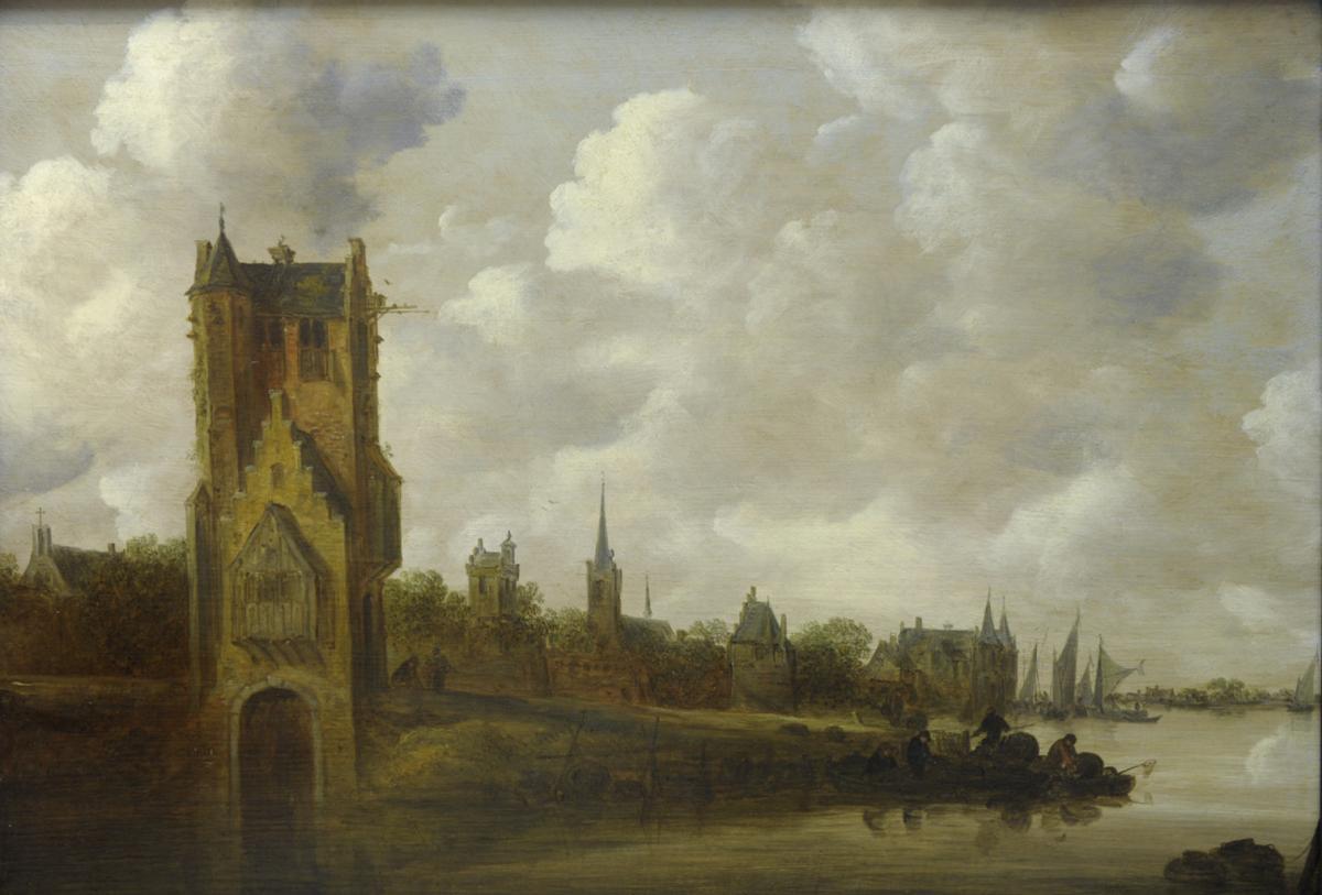 Paysage fluvial. La Pellekussenpoort, Jan Josefsz. VAN GOYEN.1656. © Musée des Beaux-Arts-mairie de Bordeaux. Cliché L.Gauthier