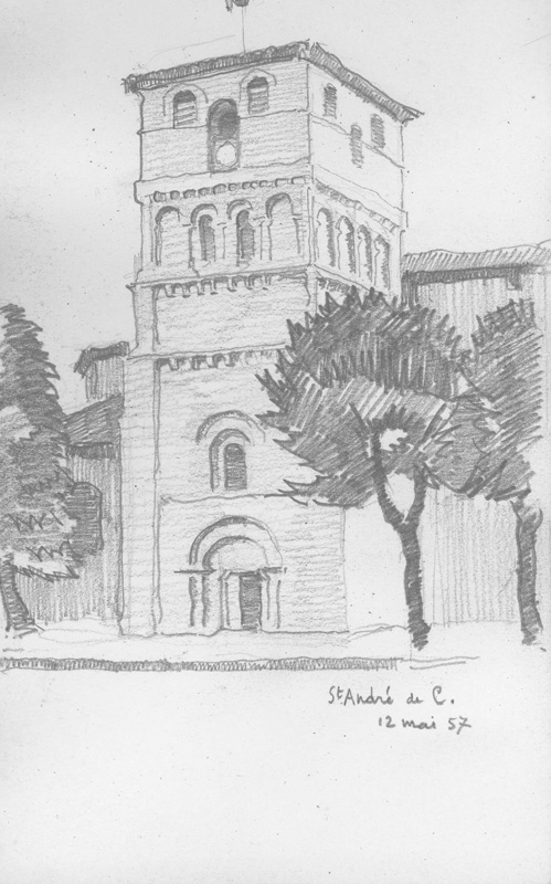 R. RODES, Le clocher de l'église de Saint-André-de-Cubzac. Crayon, 1957. Collection particulière
