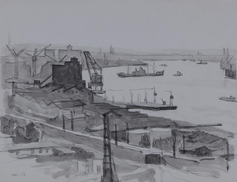 R. RODES, Le port de Bordeaux. Lavis, 1953. Collection particulière