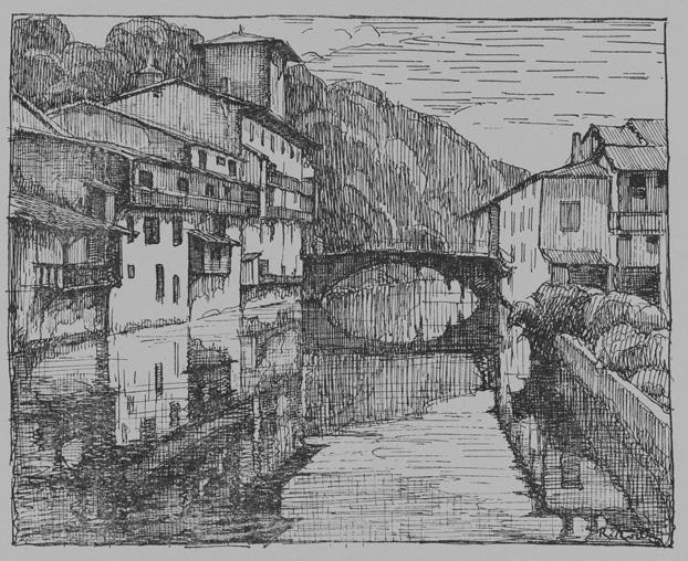 R. RODES, Saint-Jean-Pied-de-Port. Pointe sèche, 1938. Collection particulière