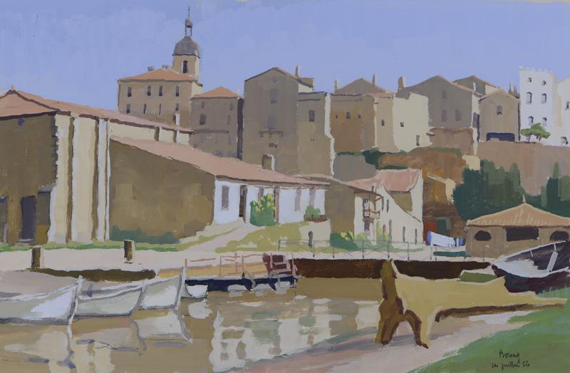 R. RODES, Bourg-sur-Gironde. Gouache, 1956. Collection particulière