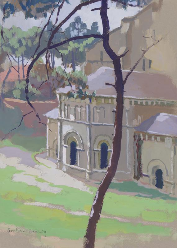 R. RODES, Église de Soulac. Gouache, 1958. Collection particulière