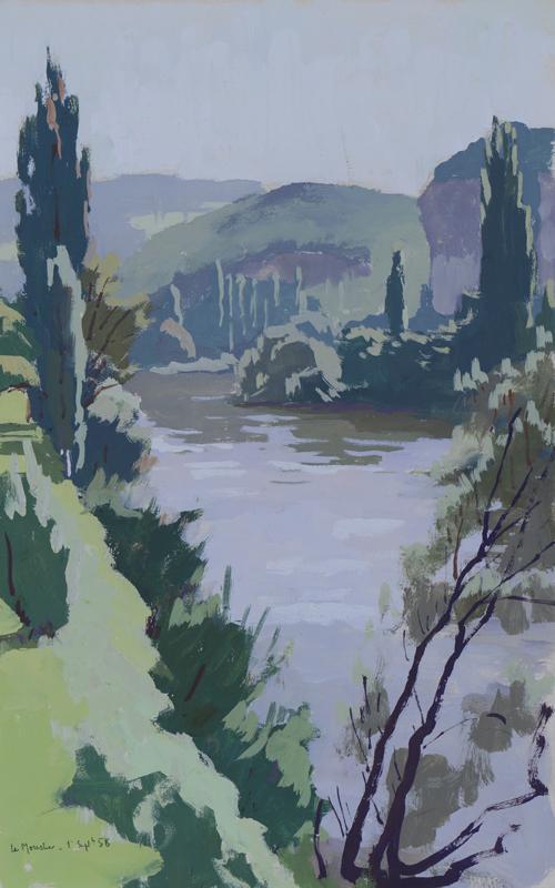 R. RODES, Le Moustier. Gouache, 1958. Collection particulière