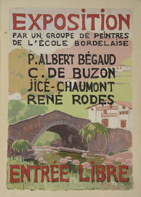 Lien pour agrandir : Maquette réalisée par R. Rodes pour une affiche d'exposition au Pays basque. 1954-1955. Collection particulière