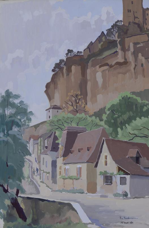 R. RODES, La Roque-Gageac. Gouache, 1960. Collection particulière