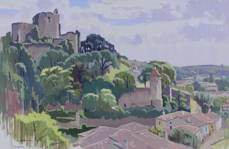 R. RODES, Ruines du château de Langoiran. Gouache, 1958. Collection particulière