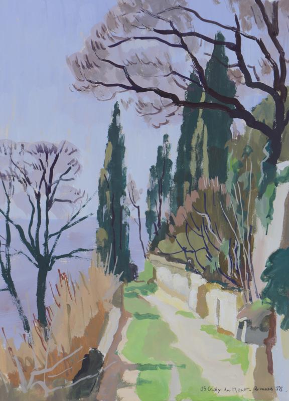 R. RODES, Sainte-Croix-du-Mont. Gouache, 1958. Collection particulière
