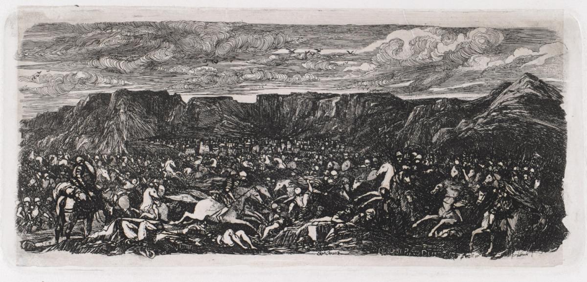 Bataille dans une plaine rocheuse. Rodolphe Bresdin