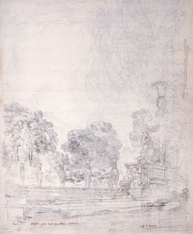 Vue des jardins de la villa Farnèse à Caprarola, par Pierre Lacour