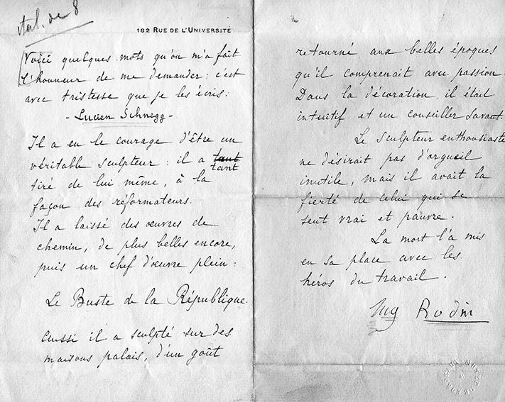 Image : Lettre d'hommages écrite par Rodin au décès de Lucien Schnegg. Bordeaux, documentation du musée des Beaux-Arts