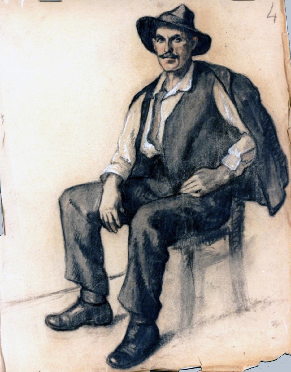 Odette Boyer-Chantoiseau. Homme assis, 1930. Collection particulière
