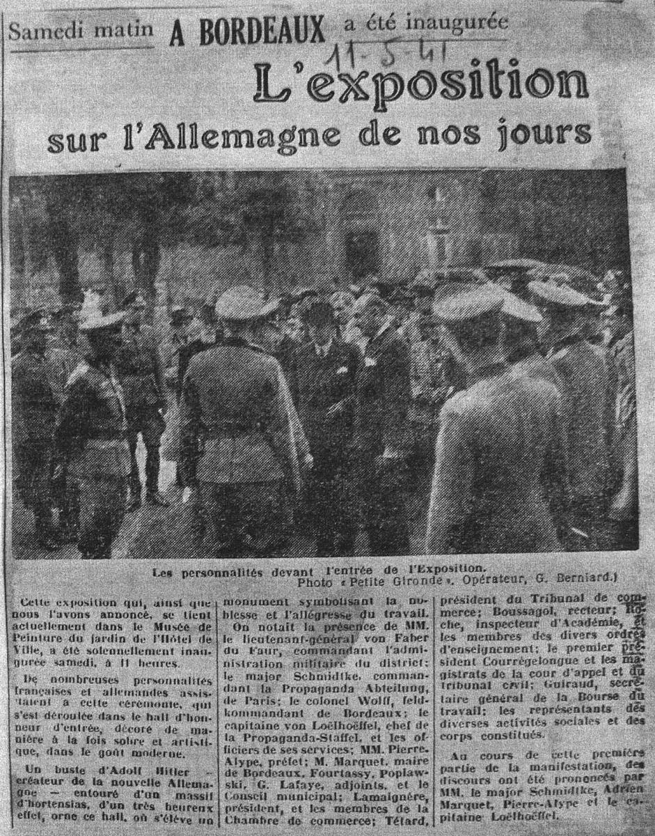 Lien vers l'article de La Petite Gironde du 11/05/1941 © Documentation musée des Beaux-Arts - Mairie de Bordeaux