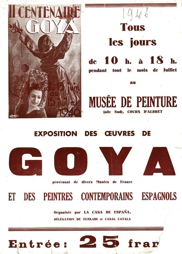 Lien vers la documentation de l'exposition du musée des Beaux-Arts de Bordeaux, Goya, 1946
