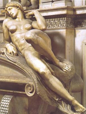 Image : L'Aurore, tombeau des Médicis,  Michel Ange