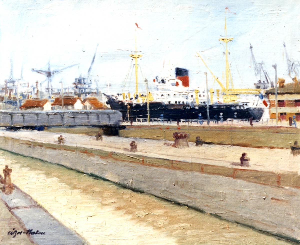Pierre Cizos-Natou. Bassin à flot à Bordeaux, 1953. Collection particulière