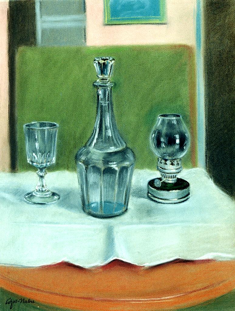 Pierre Cizos-Natou. Carafe, verre, lampe, 1995. Collection particulière