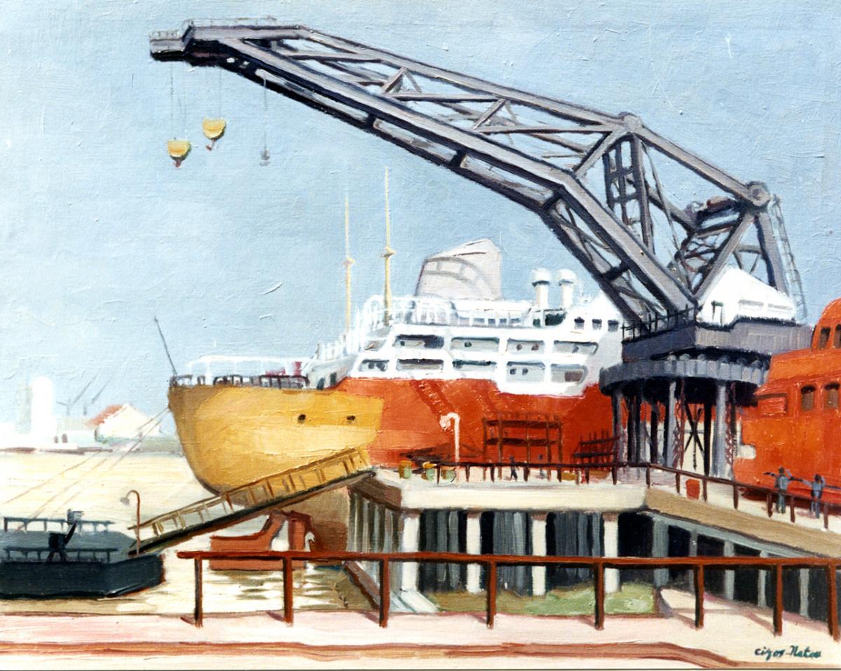 Pierre Cizos-Natou. Navire en chantier, Lormont. Collection particulière