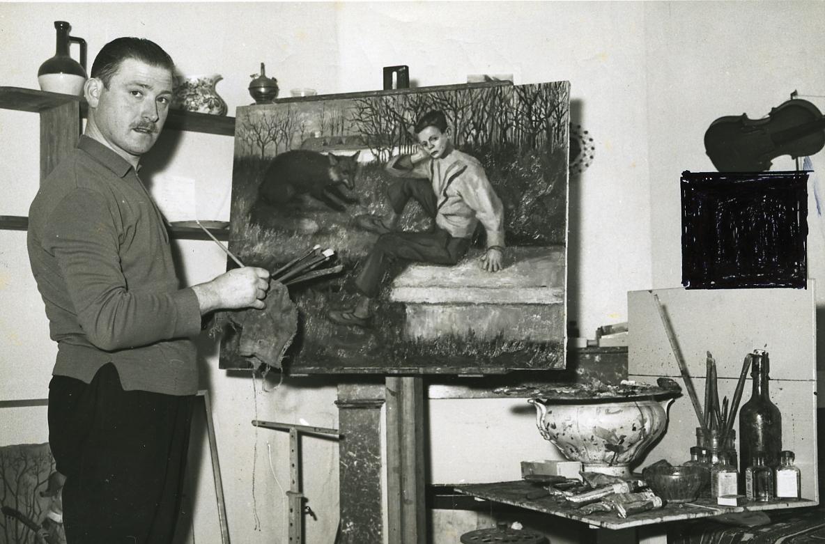 1962, Cizos-Natou dans son atelier du 5 de la rue Montagut aujourd'hui détruite