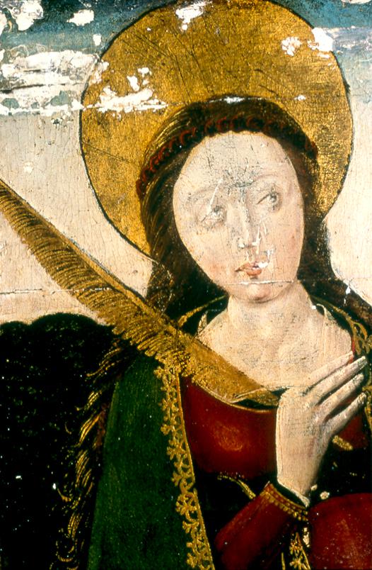 Hans Clot, Vierge de Pitié, détail (Sainte Barbe)