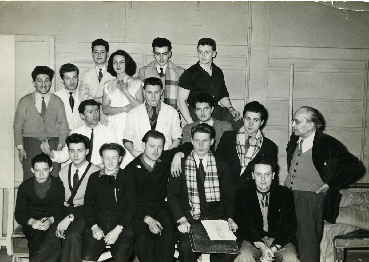 1953, Cizos-Natou à l'École des Beaux-Arts de Bordeaux et Camille de Buzon (professeur)