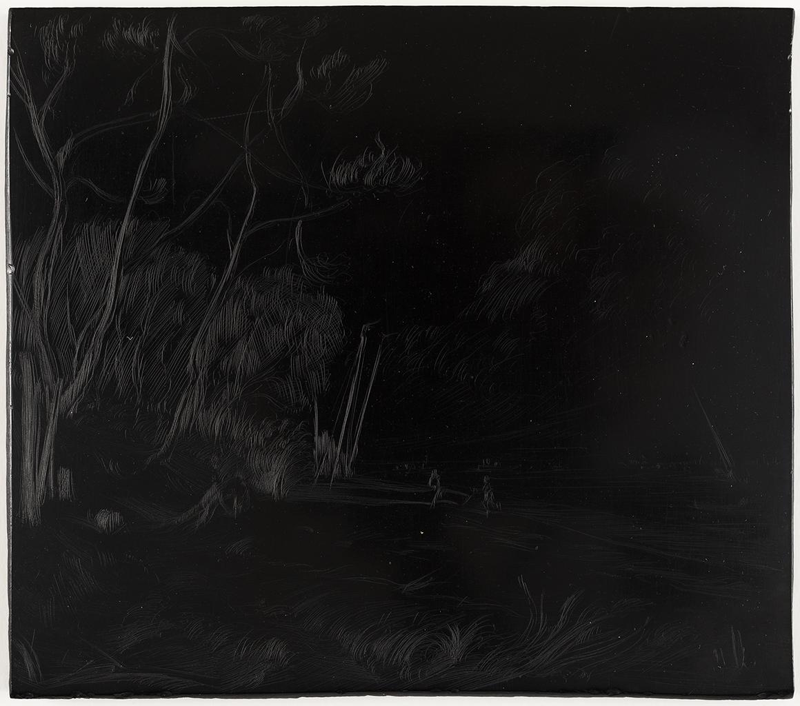 Lien pour agrandir l'image : Jacques Lasserre, Paysage du Bassin d'Arcachon gravé sur ébonite. Collection particulière. Serge Fernandez