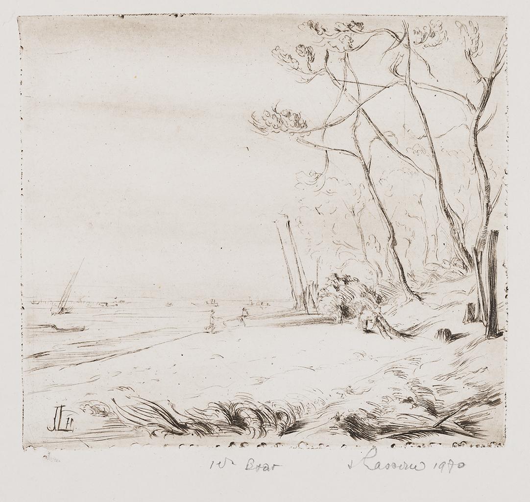 Jacques Lasserre, Paysage du Bassin d'Arcachon gravure sur ébonite. Collection particulière. Serge Fernandez
