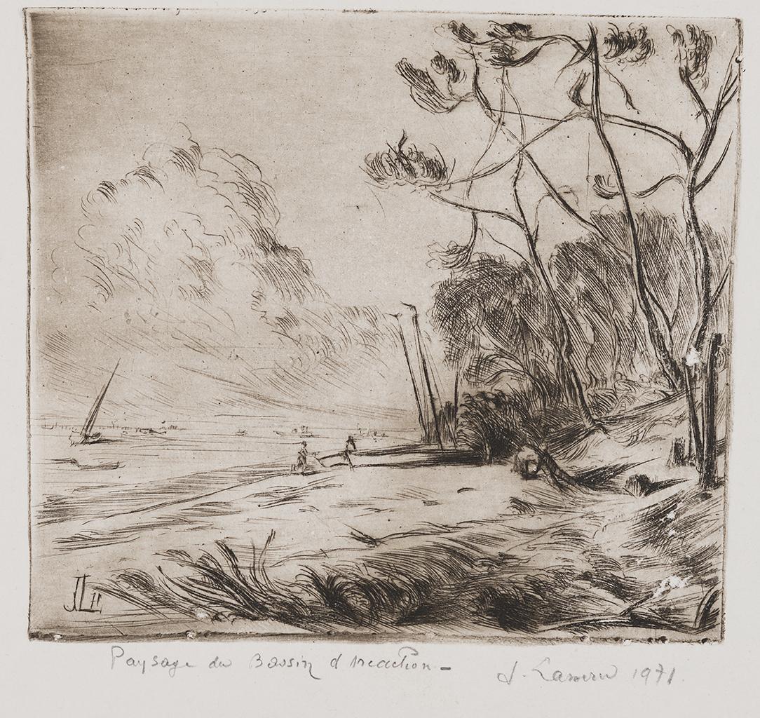 Lien pour agrandir l'image : Jacques Lasserre, Paysage du Bassin d'Arcachon gravure sur ébonite. Collection particulière. Serge Fernandez