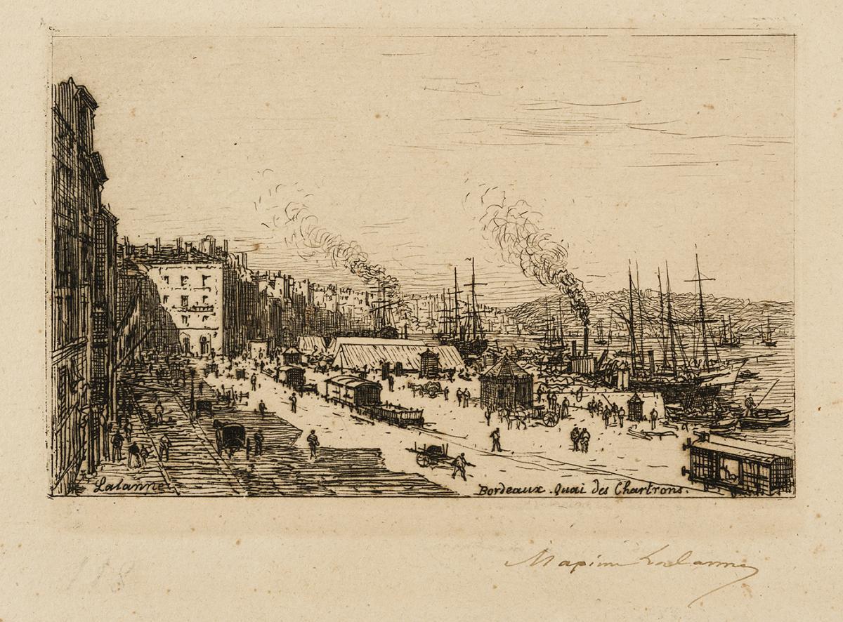 Lien agrandir l'image  : Bordeaux, quai des Chartrons. Maxime Lalanne. Bordeaux, musée des Beaux-Arts. Serge Fernandez