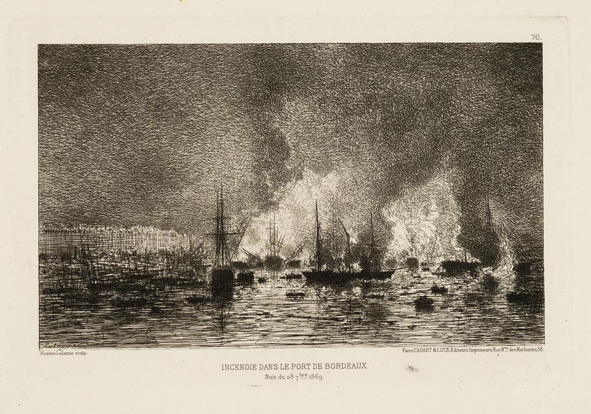 Lien agrandir l'image  : Incendie dans le port de Bordeaux. Maxime Lalanne. Bordeaux, musée des Beaux-Arts. Serge Fernandez