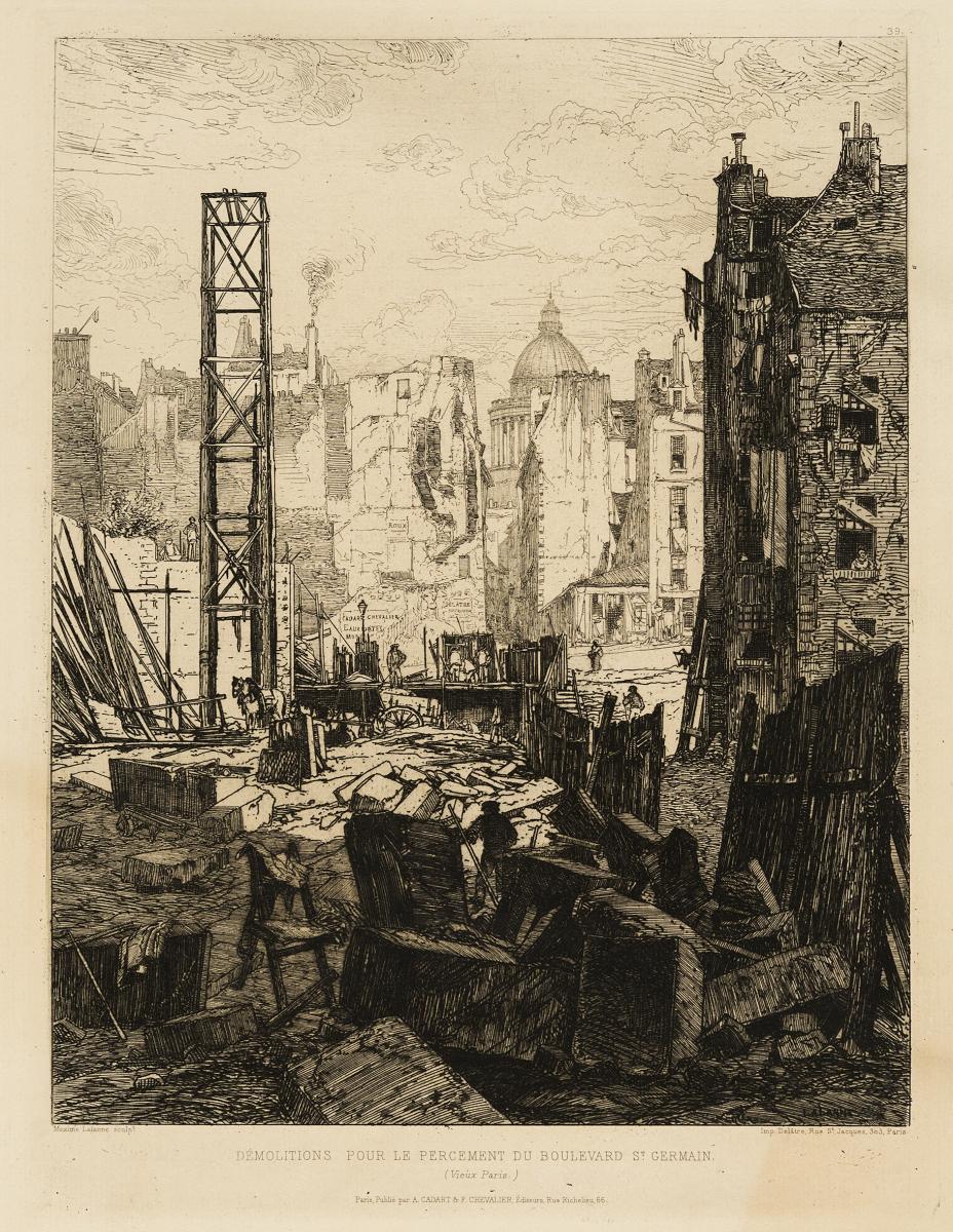 Lien agrandir l'image  : Percement du boulevard Saint-Germain à Paris. Maxime Lalanne. Bordeaux, musée des Beaux-Arts. Serge Fernandez