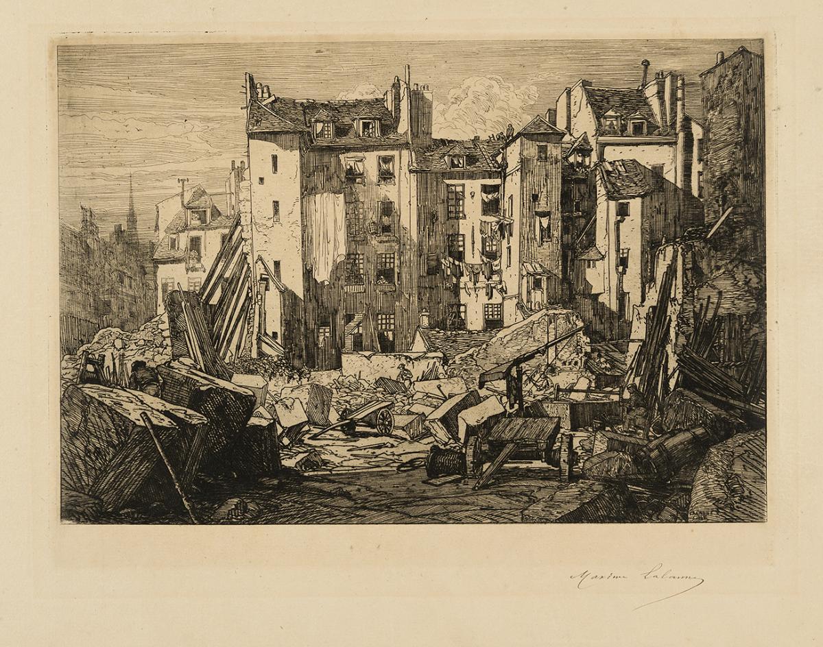 Lien agrandir l'image  : Percement de la rue des Ecoles à Paris. Maxime Lalanne. Bordeaux, musée des Beaux-Arts. Serge Fernandez