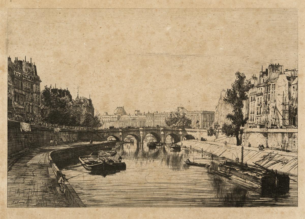 Lien agrandir l'image  : Vue prise du Pont Saint-Michel, Maxime Lalanne. Bordeaux, musée des Beaux-Arts. Serge Fernandez