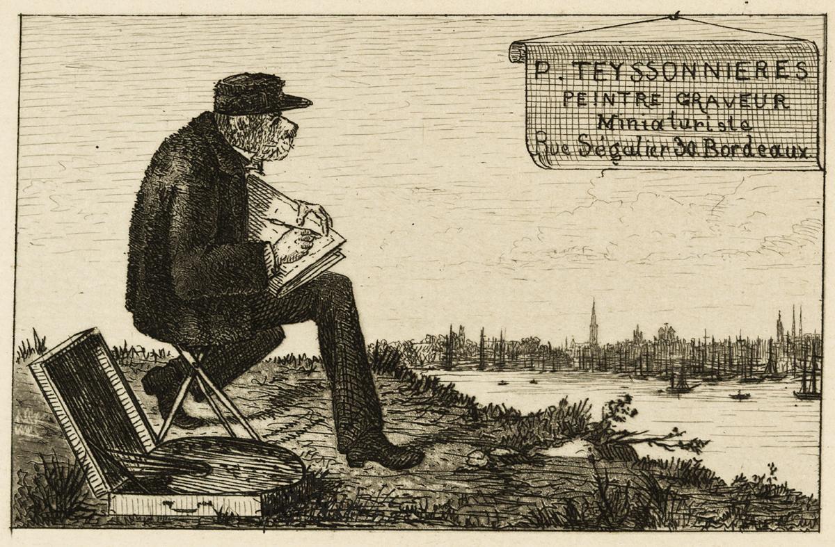 Lien pour agrandir l'image : Pierre Teyssonnières, Carte de visite, 1869. Bordeaux, musée des Beaux-Arts. Serge Fernandez