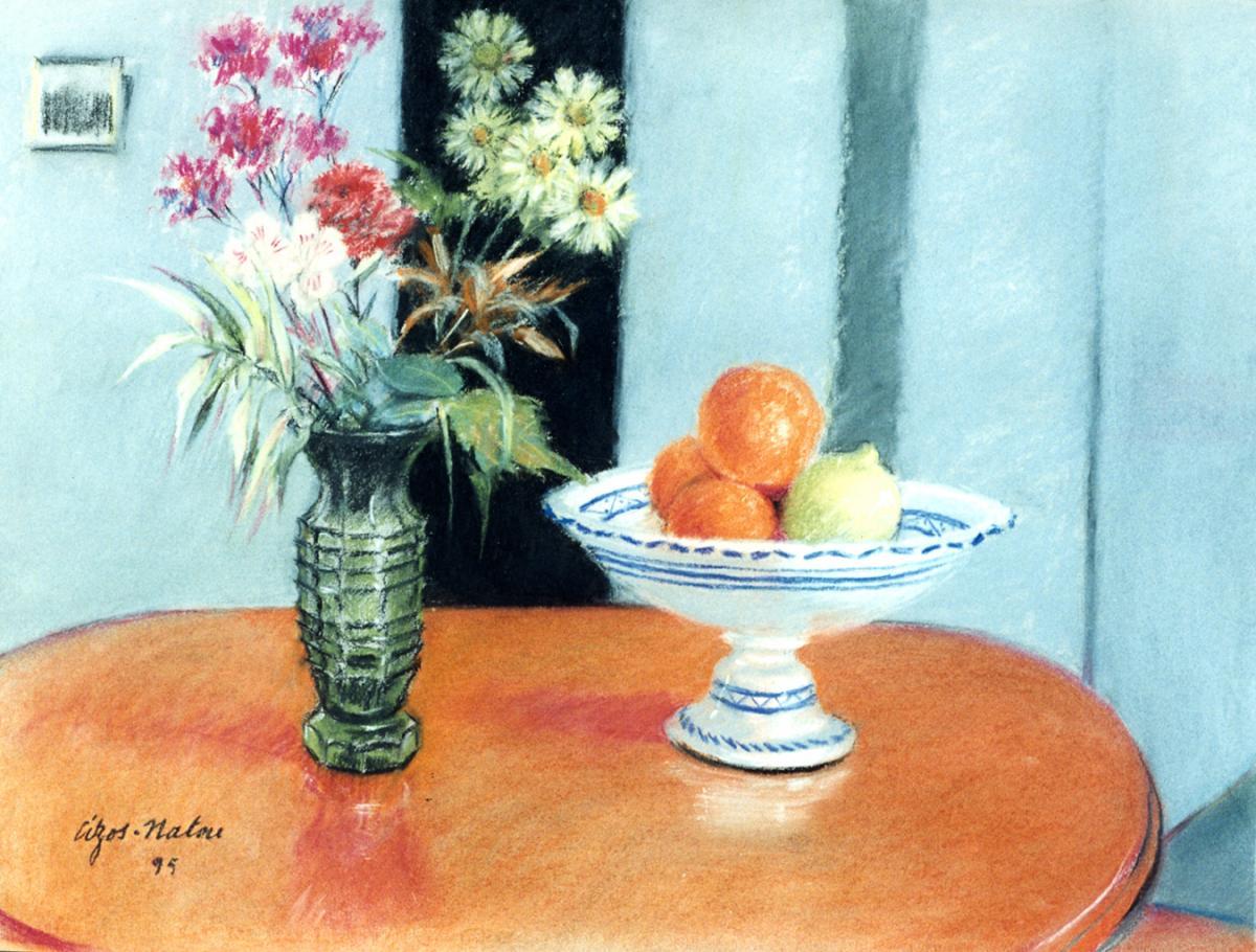 Pierre Cizos-Natou. Fleurs et fruits, 1995. Collection particulière
