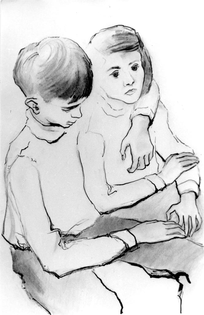 Pierre Cizos-Natou. Frère et soeur, 1972. Collection particulière