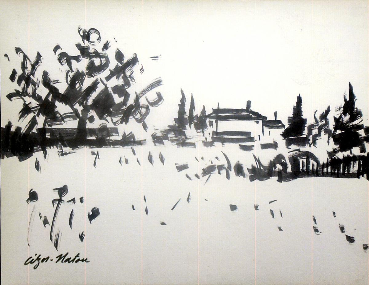 Pierre Cizos-Natou. Paysage girondin. Collection particulière
