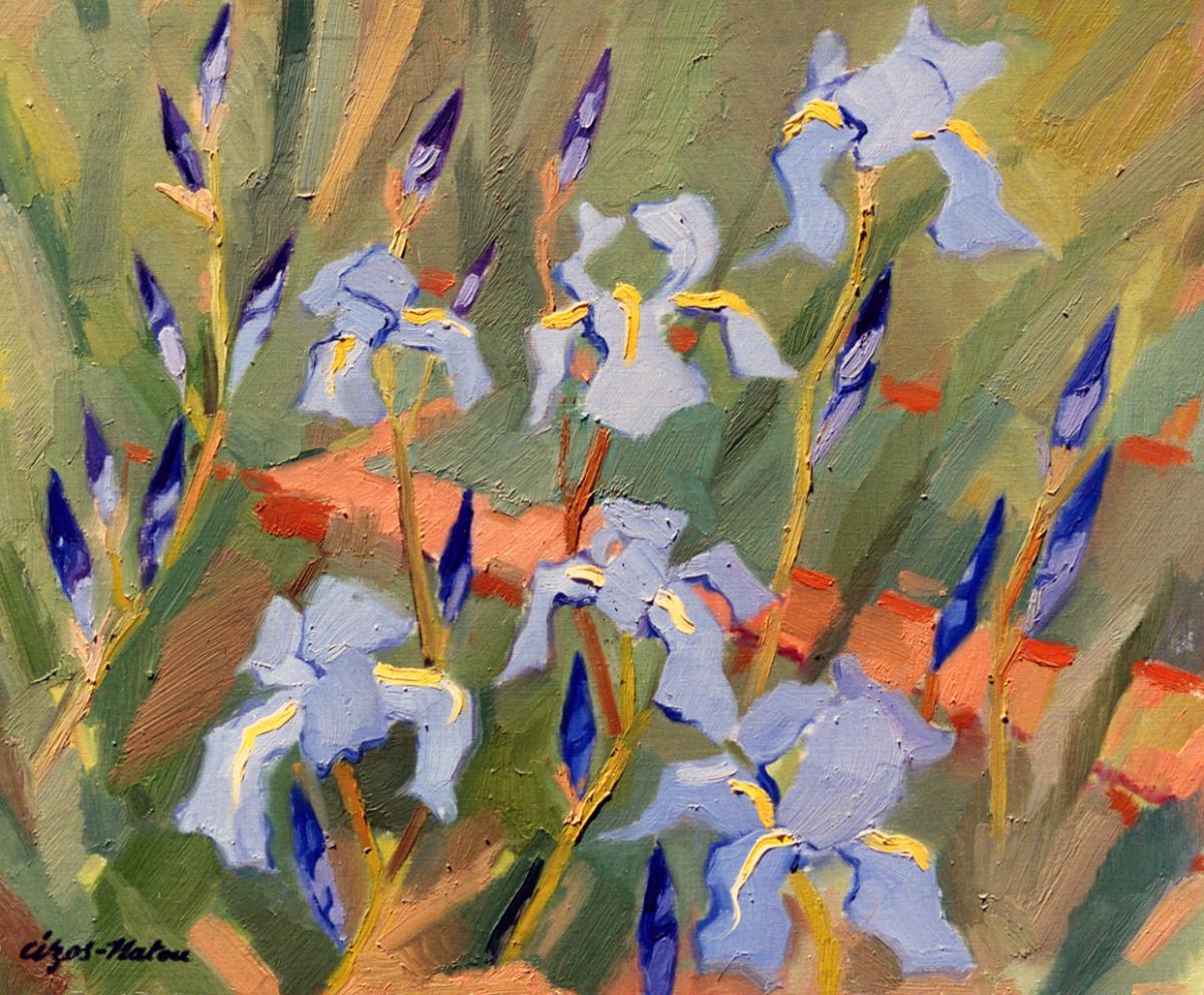 Pierre Cizos-Natou. Les Iris bleus, 1961. Collection particulière
