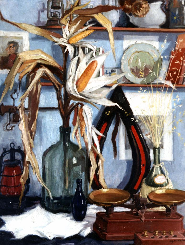 Pierre Cizos-Natou. Nature morte au maïs, 1963. Collection particulière