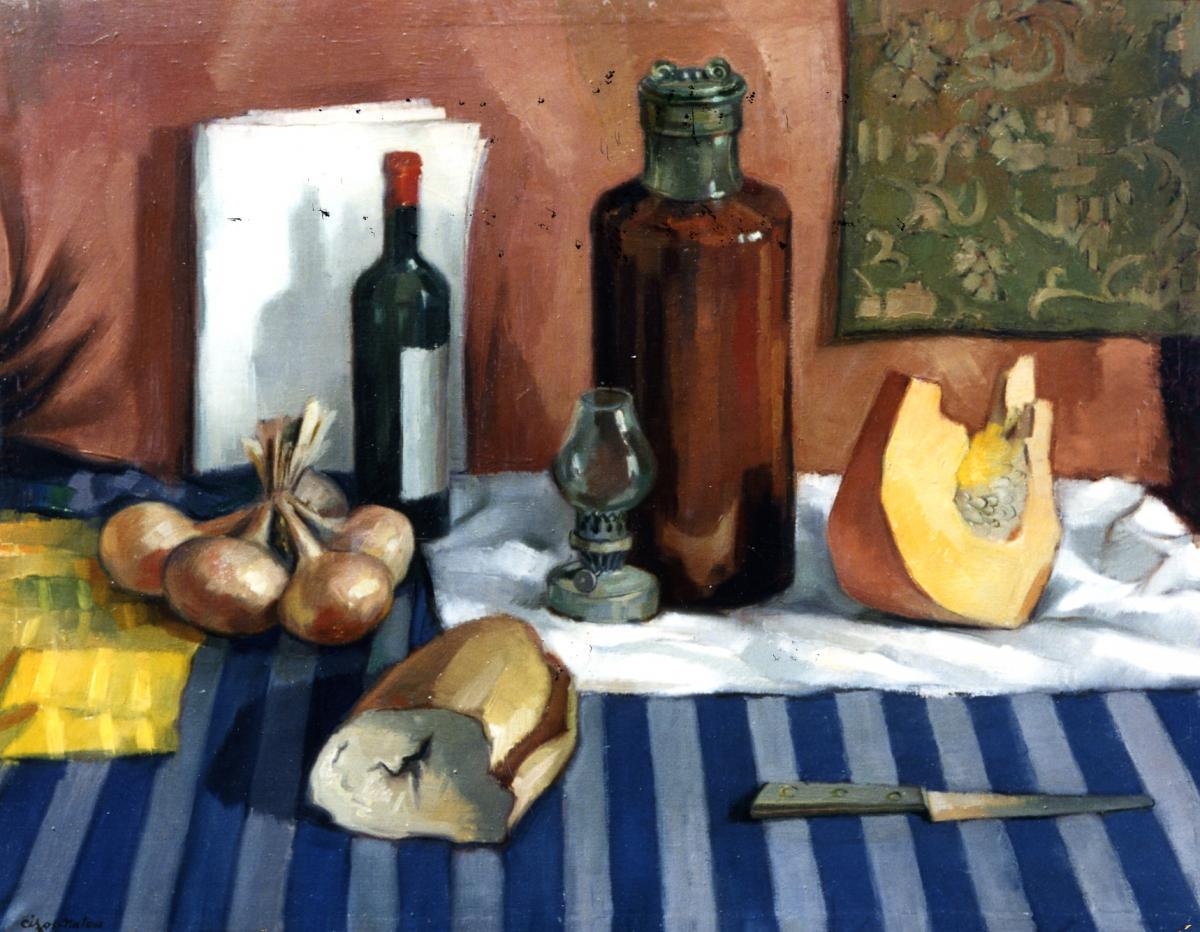 Pierre Cizos-Natou. Nature morte à la petite lampe, 1956. Collection particulière
